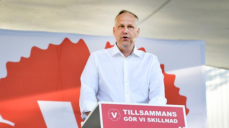 Vänsterpartiets partiledare Jonas Sjöstedt talar i Almedalen på Vänsterpartiets avslutande dag av politikerveckan.