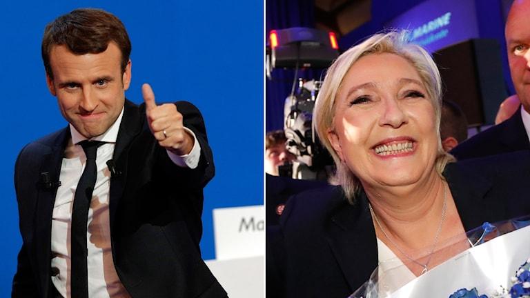 Franska presidentkandidaterna Emmanuel Macron ohc Marine Le Pen går vidare till nästa omgång