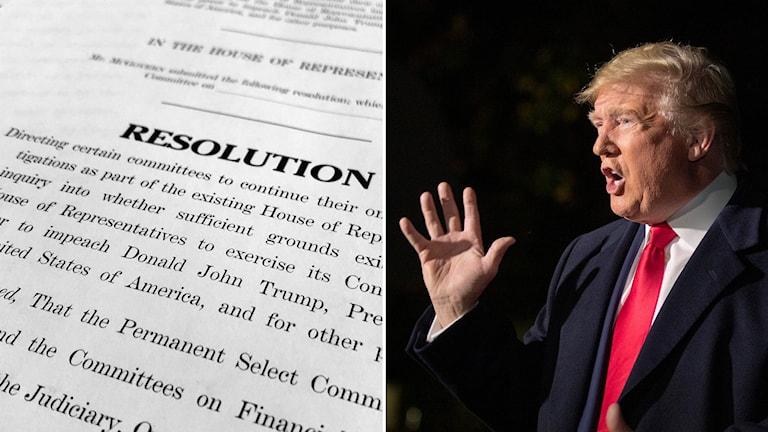 Delad bild: Resolutionen om hur riksrättsutredningen ska gå till och Trump med ena handen höjd.
