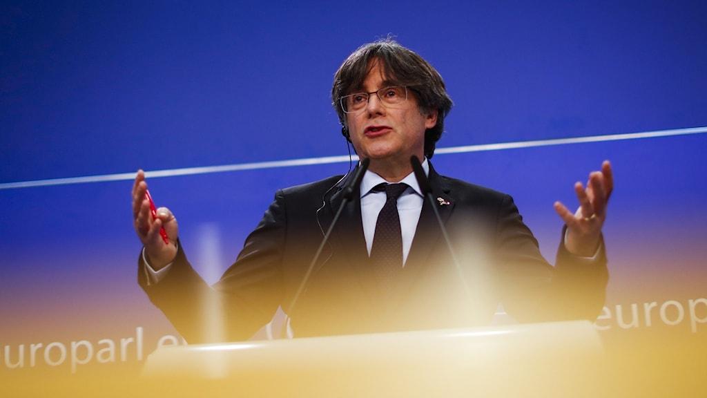 Den katalanske politikern Carles Puigdemont på en presskonferens i EU-parlamentet i Bryssel i mars 2021.