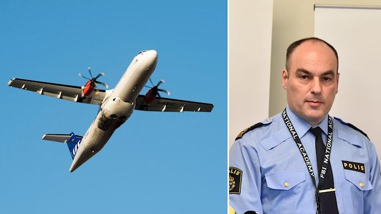 Flygplan och chefen för gränspolisen, Patrik Engström.