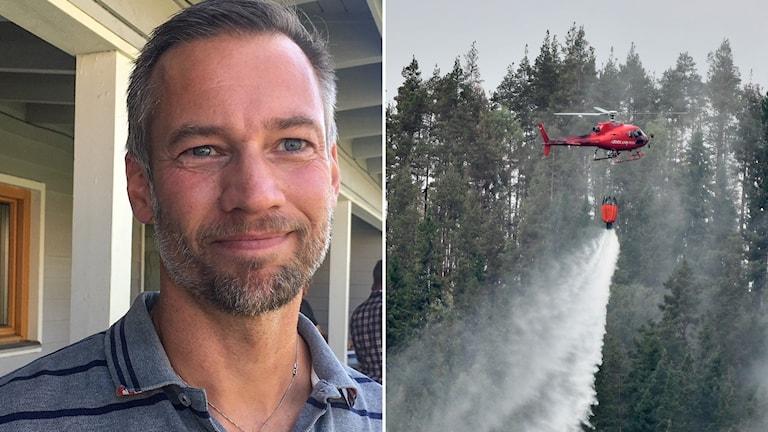 Split bild. Fire chief Patrik Åhnberg and helicopter dropping water.