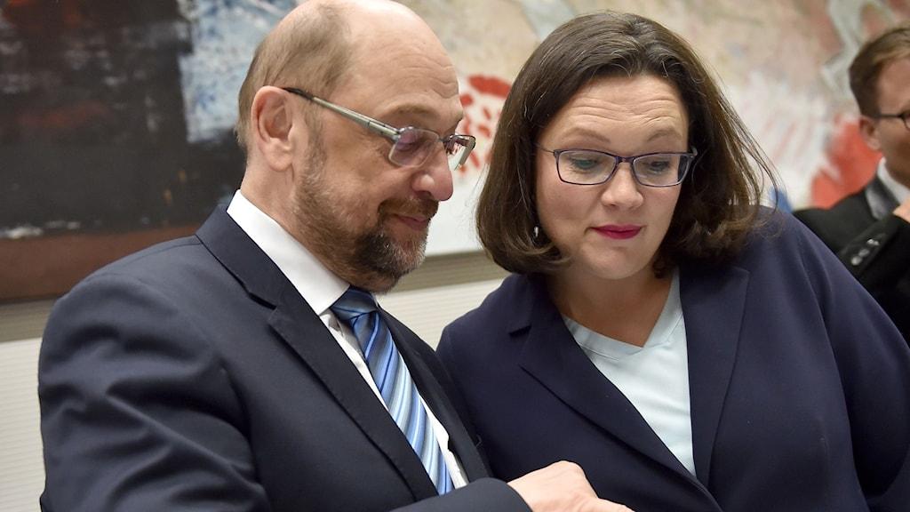 Martin Schulz och Andrea Nahles. Foto: Britta Pedersen/TT.