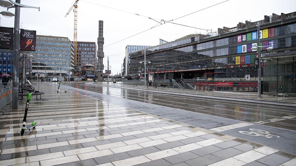 Ett folktomt Stockholm på onsdagen.
