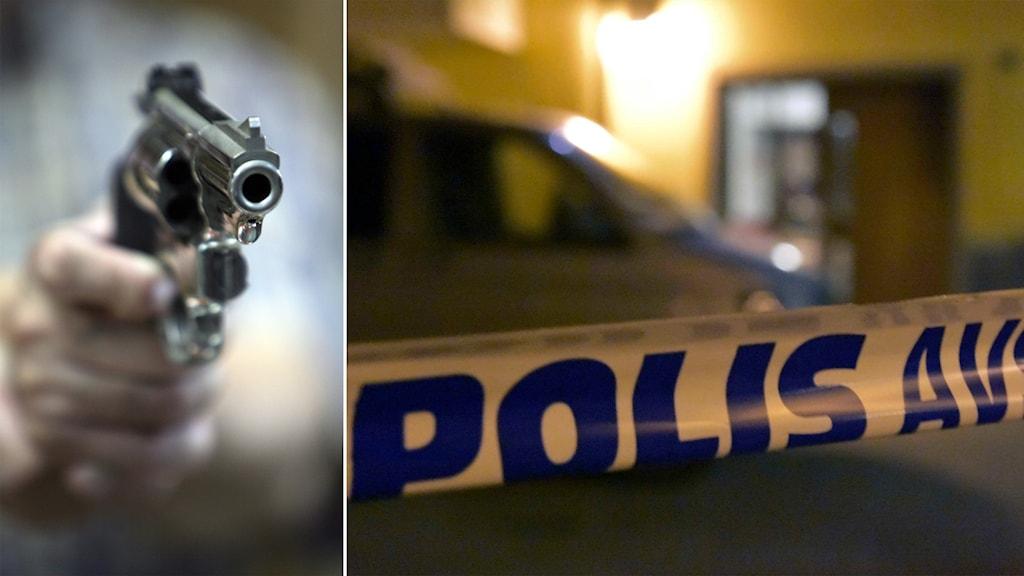 Delad bild: revolver som riktas mot kameran och en polisavspärrning utanför ett hus.