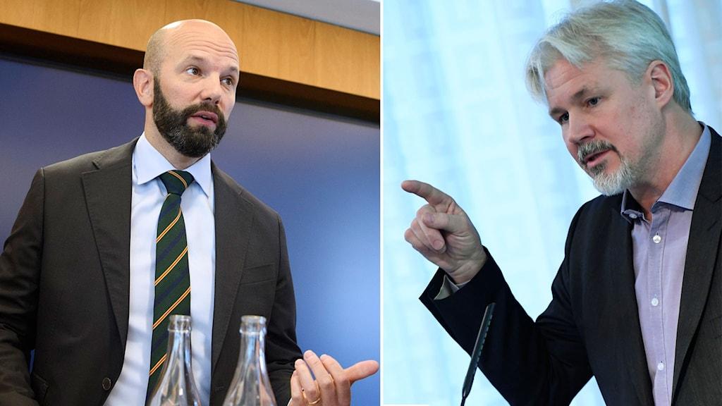 Mattias Dahl, vice vd för Svenskt näringsliv och Torbjörn Johansson, avtalssekreterare på LO.