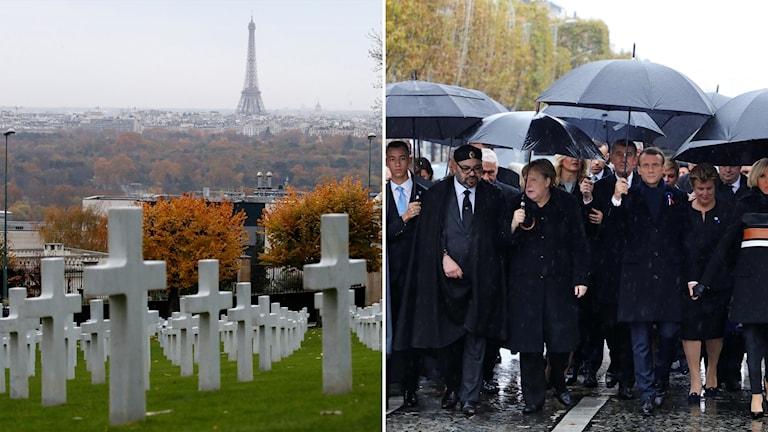 Delad bild: krigskyrkogård med Eiffeltornet i bakgrunden, svartklädda världsledare går med paraplyer.