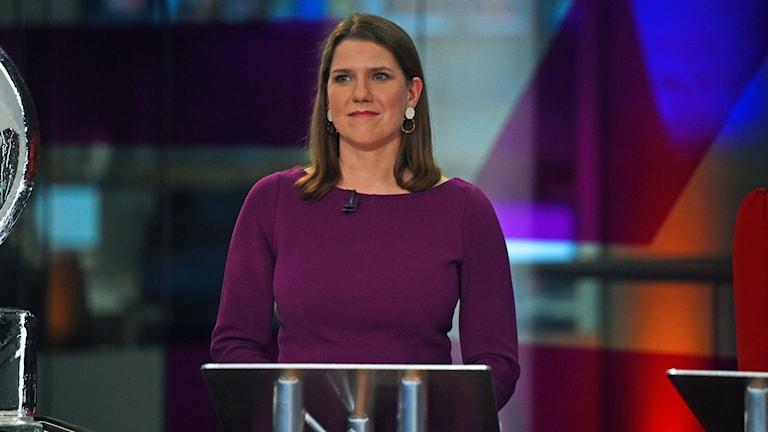 Liberaldemokraternas ledare Jo Swinson i en  tv-sänd debatt.