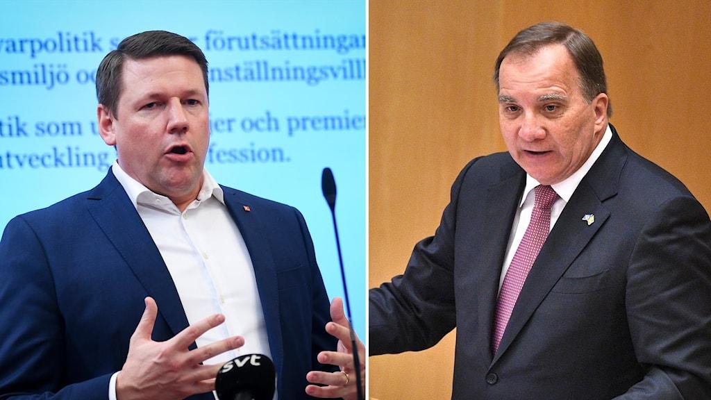 Tvådelad bild med Tobias Baudin till vänster och Stefan Löfven till höger.