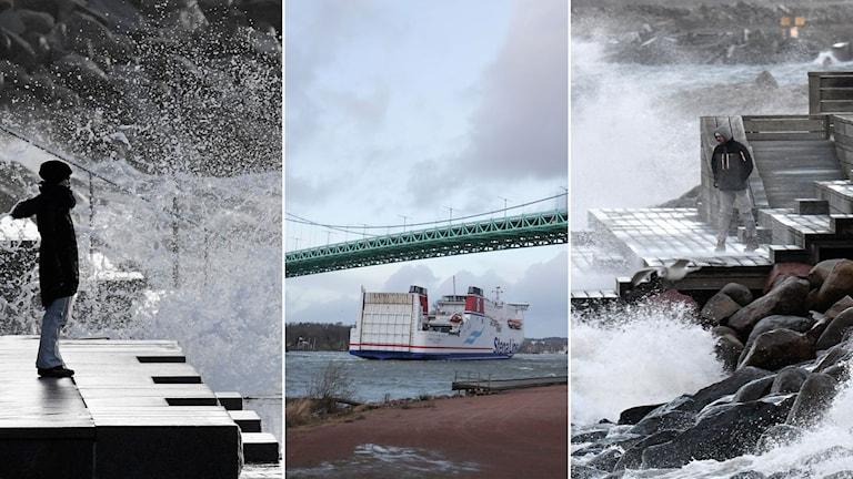 Tredelad bild: Kvinna står på en brygga, det blåser upp vatten från havet, en Stena Line-båt åker under en bro, en kille står på en brygga och det blåser kraftigt