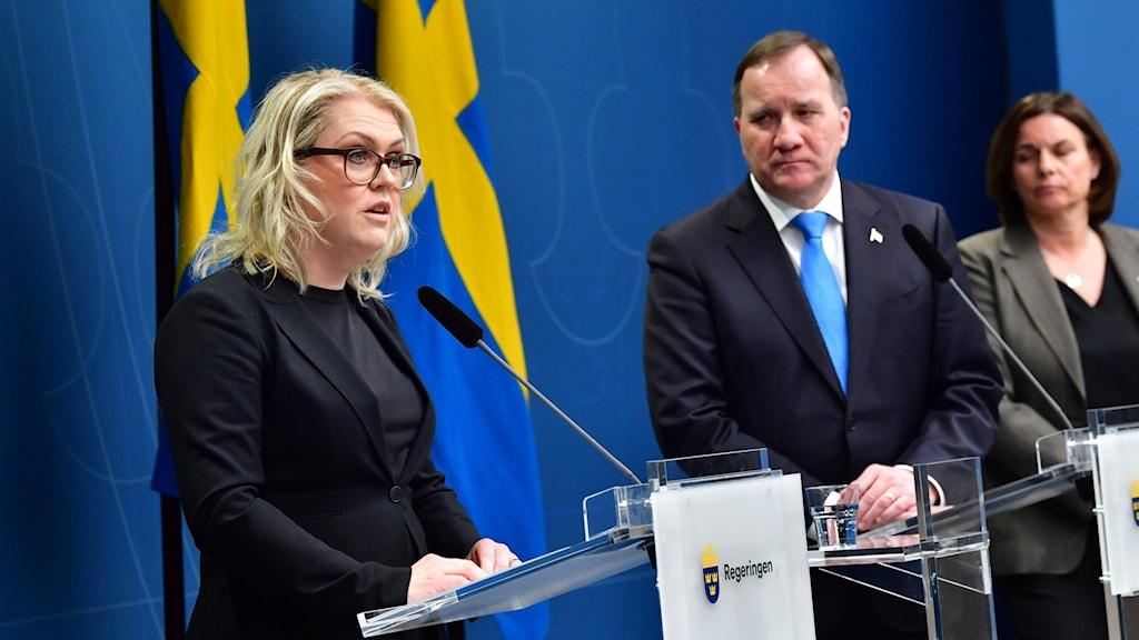 Lena Hallengren, Stefan Löfven och Isabella Lövin.
