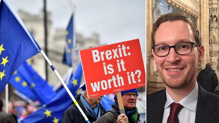 Människor som demonstrerar mot Brexit och Darren Jones