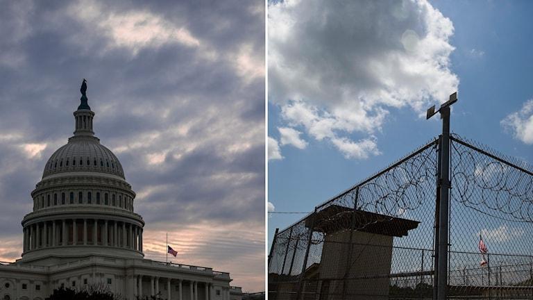 Delad bild: Amerikanska kongressbyggnaden, Stängsel vid ett fängelse.