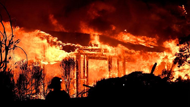 Himlen är röd av eld och ett hus brinner