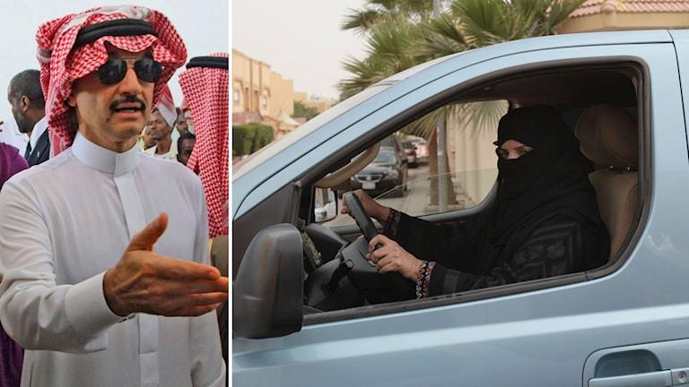 Prins Al Waleed bin Talal och en kvinna som kör bil