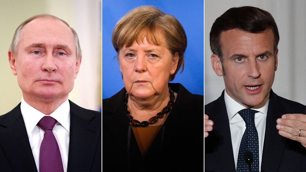 Putin, Merkel och Macron i montage.