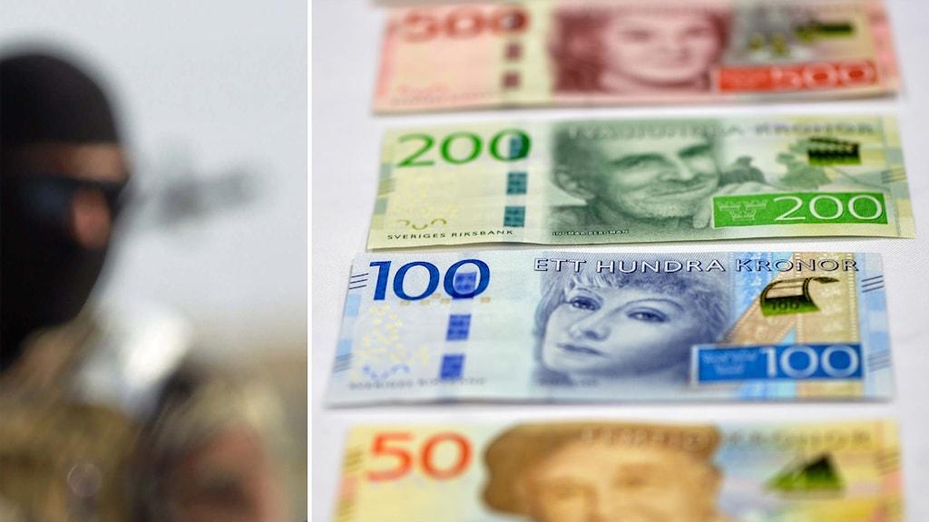 Delad bild: man i huva och svenska sedlar