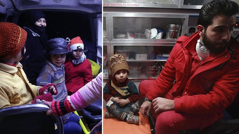 Sjuka barn evakueras från östra Ghouta.
