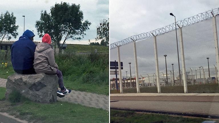 Delad bild: Två människor sitter på en sten, taggtrådsstängsel vid gränskontroll.