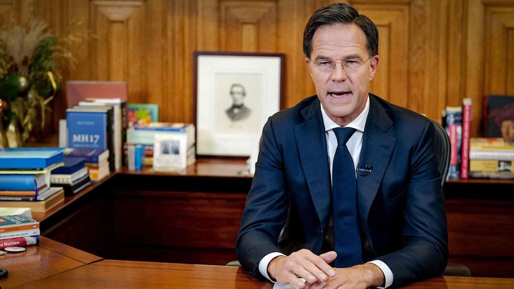Premiärminister Mark Rutte under sitt tal till nationen.