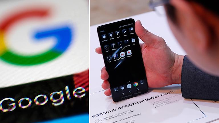 Google-logga och en Huawei-telefon
