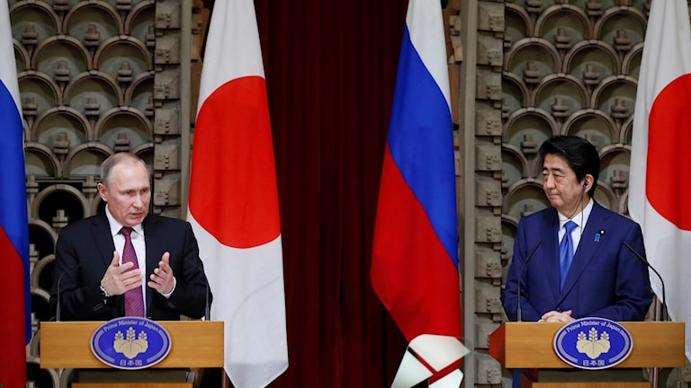 Vladimir Putin möter Shinzo Abe i Tokyo.