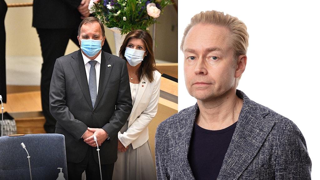 Statsminister Stefan Löfven (S) och Arbetsmarknadsminister Eva Nordmark i riksdagens plenisal inför omröstningen av ett förslag om misstroendeförklaring.