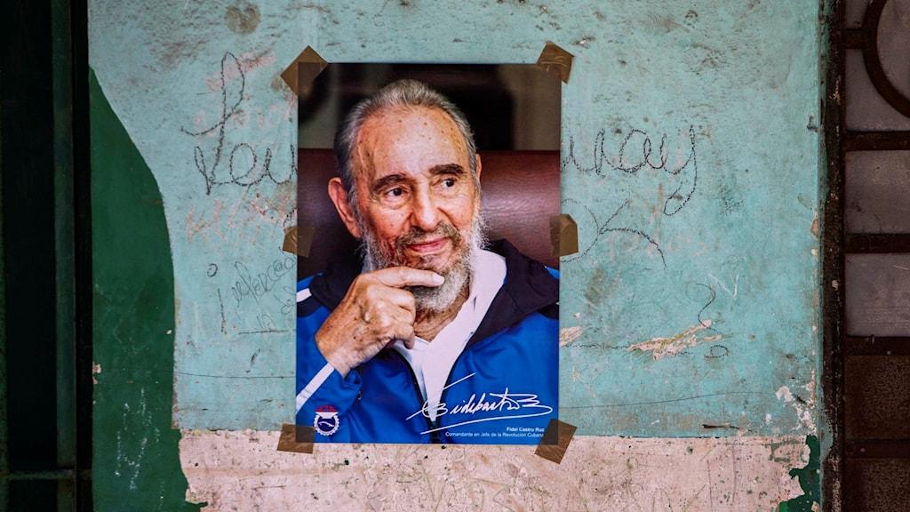 En plansch på Fidel Castro