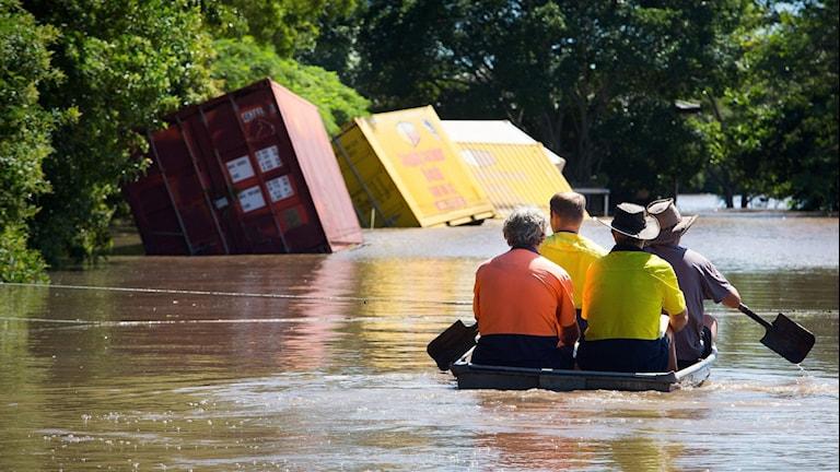 Översvämningar i Beenleigh strax söder om Brisbane i Queensland. Foto: Patrick Hamilton/TT.