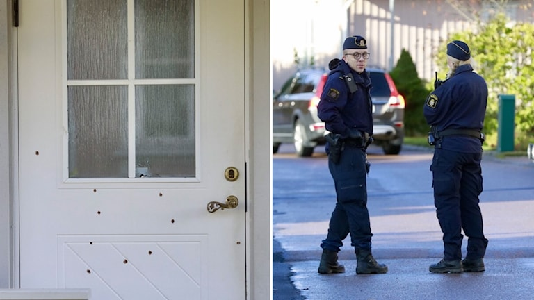 Poliser och dörr med skotthål.