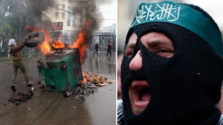 Våldsamma protester i Libanons huvudstad.