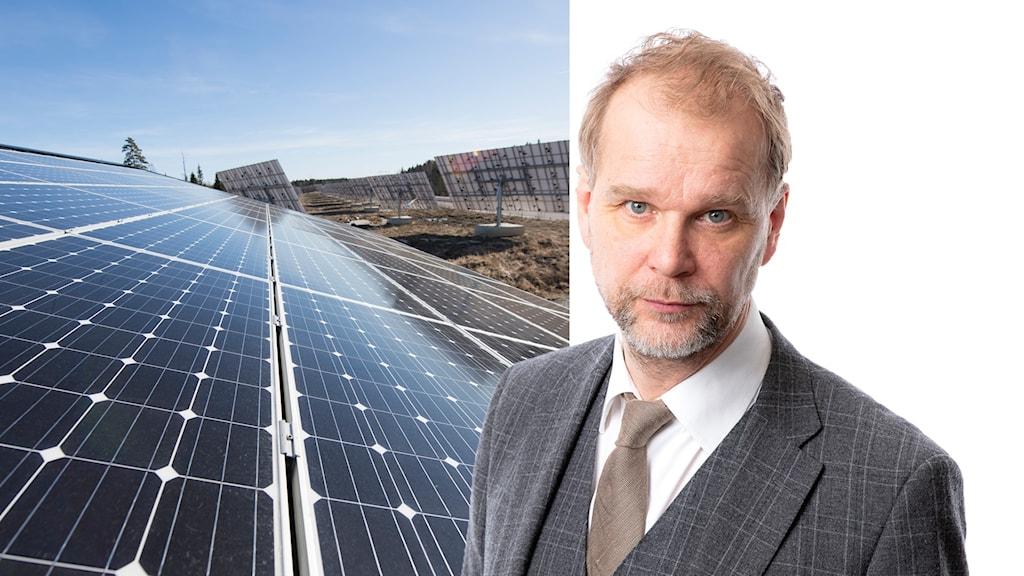 Delad bild. Solcellspark och Ekots ekonomikommentator Kristian Åström.