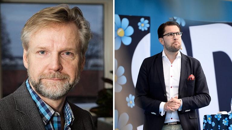 Tomas Ramberg, inrikespolitisk kommentator på Ekot. Samt en bild på Sverigedemokraternas partiledare Jimmie Åkesson.
