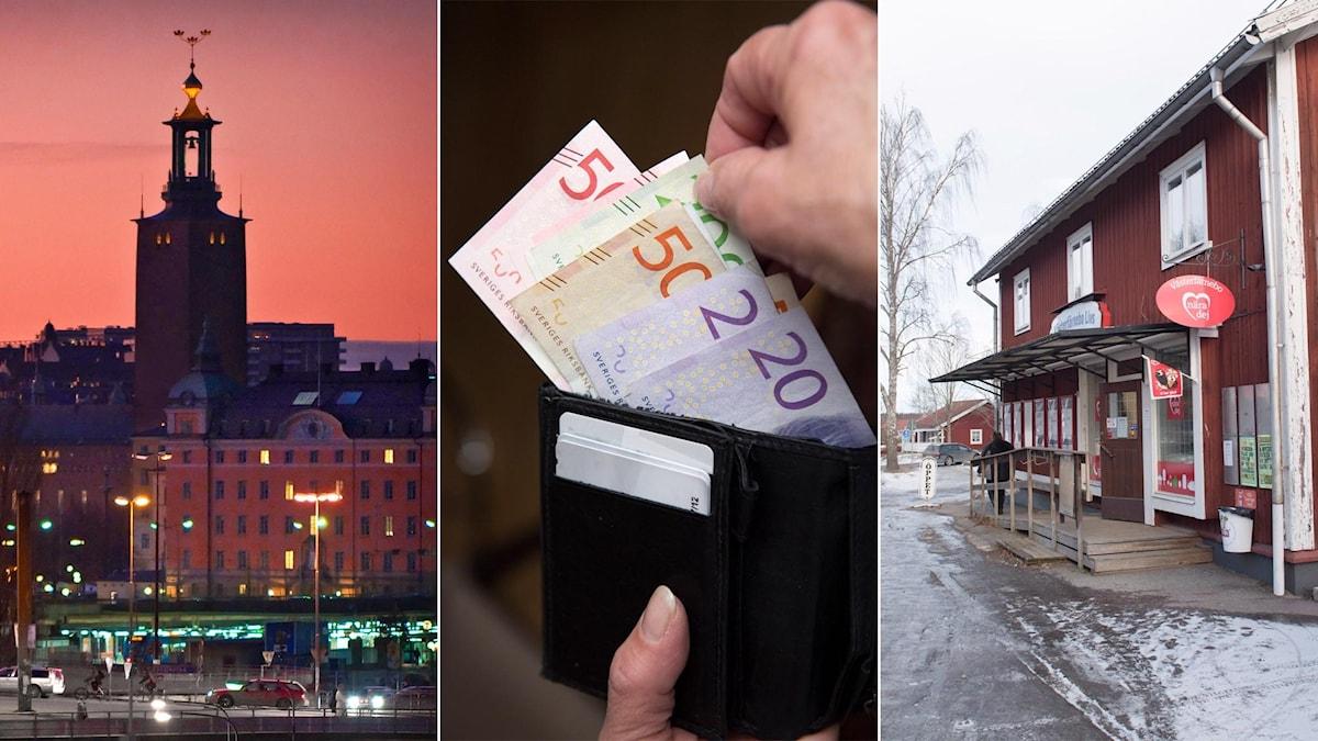 Tredelad bild: Stockholms stadshus i solnedgång, plånbok med sedlar, lanthandel i glesbygd.