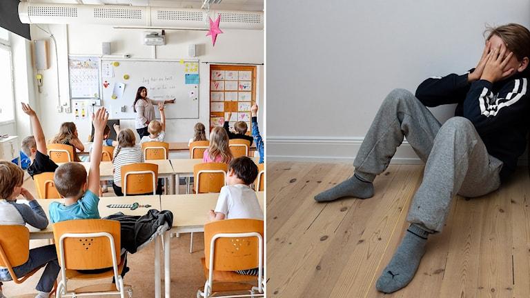 Bild på ett klassrum och på en pojke med händerna för ansiktet.