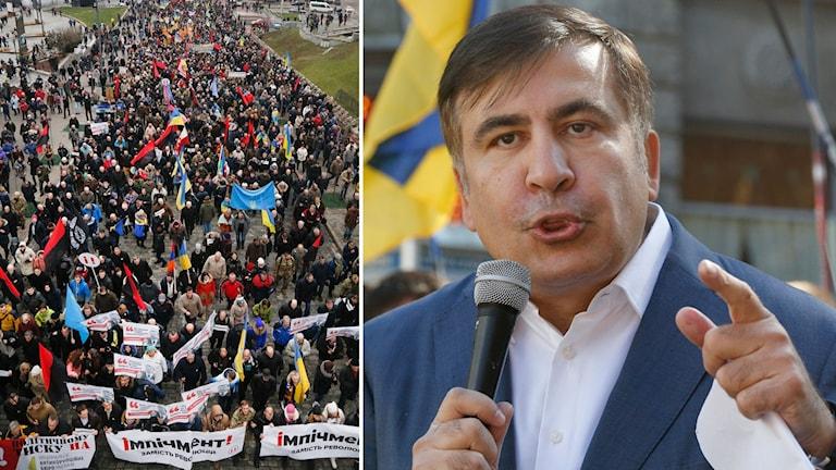 Micheil Saakasjvili och demonstranter.