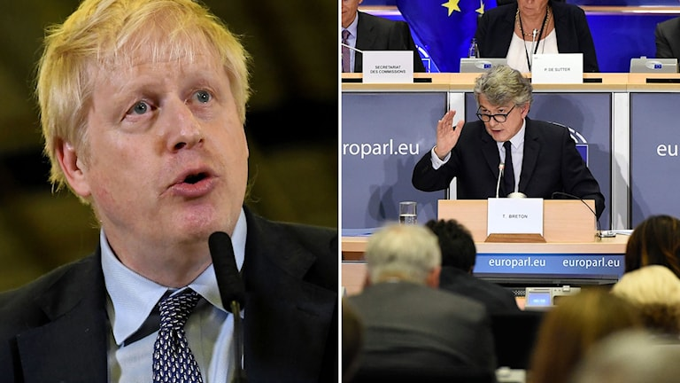 Storbritanniens premiärminister Boris Johnson (t.v) och Frankrikes kandidat Thierry Breton i EU-parlamentet i dag (t.h).