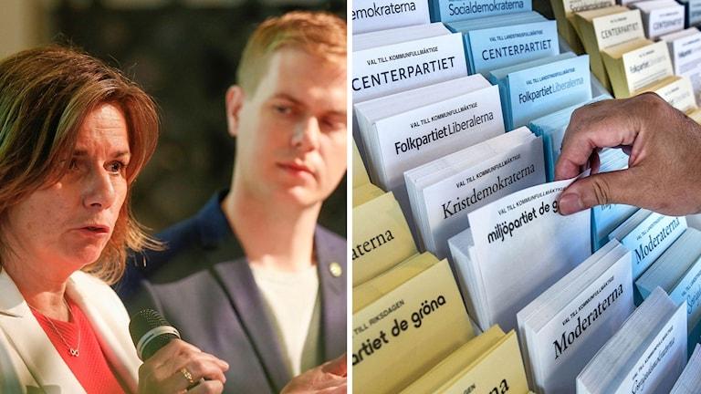 MP:s språkrör Isabella Lövin, Gustav Fridolin. Valsedlar. Montage: Sveriges Radio.