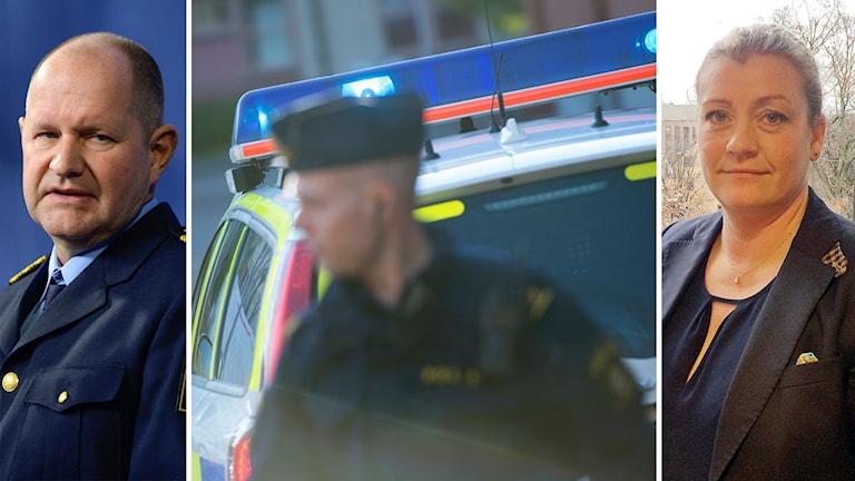 Montage av rikspolischef Dan Eliasson, Polisförbundets vice ordförande Anna Nellberg Dennis och en polisman framför en polisbil.
