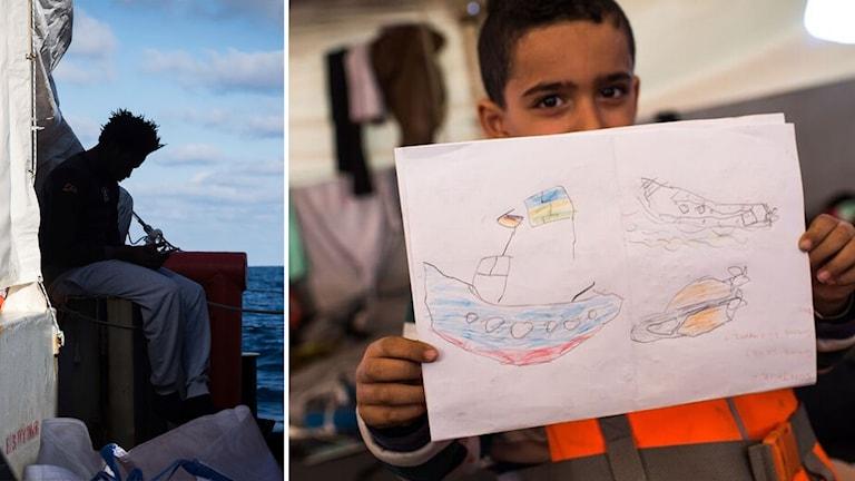 pojke ombord håller upp teckning på båt