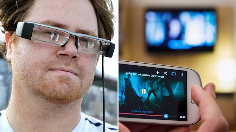 skärmen kan sättas i glasögon eller direkt i kontaktlinser, den tekniken börjar redan dyka upp i dag.