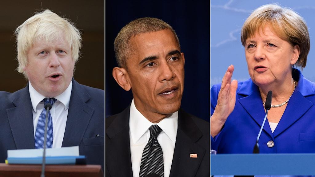 Bildsplit på Boris Johnson, Barack Obama och Angela Merkel.