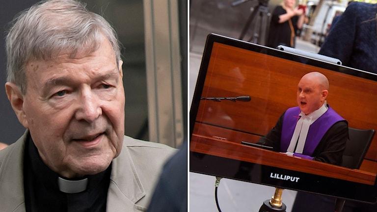 Delad bild: präst och domare på tvskärm.