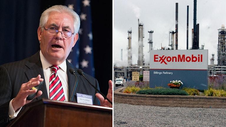 Kollage med Rex Tillerson och ett oljeraffinaderi.