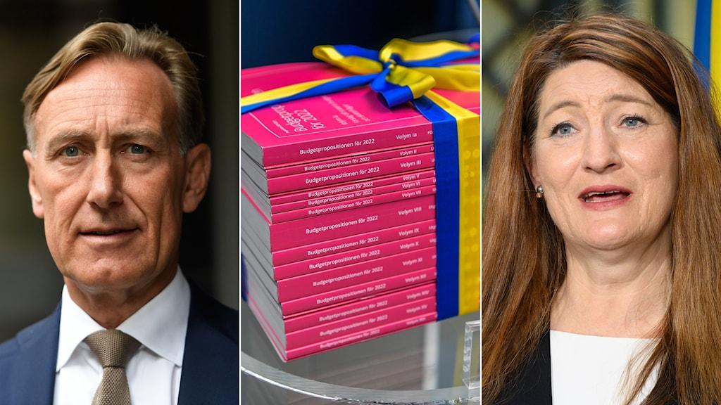 Jan-Olof Jacke, vd Svenskt näringsliv, budgetluntan och Susanna Gideonsson, LO:s ordförande