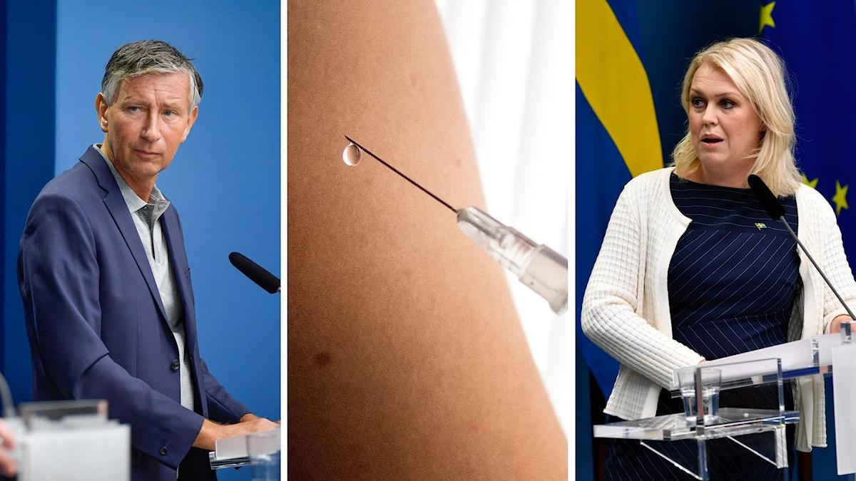 Richard Bergström, Sveriges vaccinsamordnare och socialminister Lena Hallengren håller pressträff.