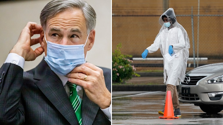 Till vänster: Texas guvernör Greg Abbott. Till höger: sjukvårdsarbetare i Houston.
