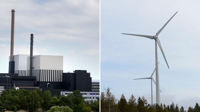 Kärnkraftsverk och vindkraftverk.