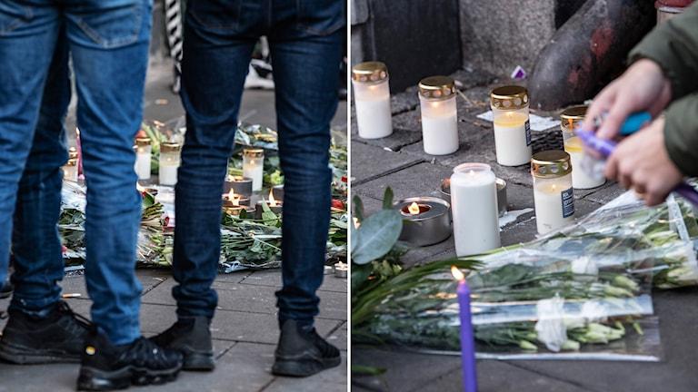 Ljus och blommor på mordplatsen på Ystadsgatan i Malmö på söndagen.