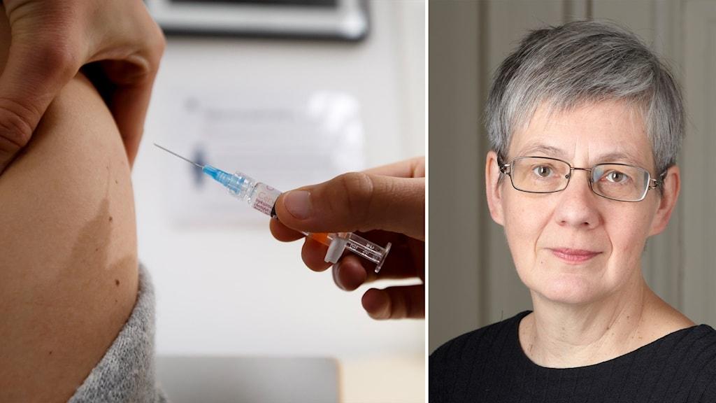 Delad bild: vaccination, kvinna